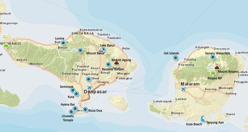 kaart bali - lombok en de gili eilanden
