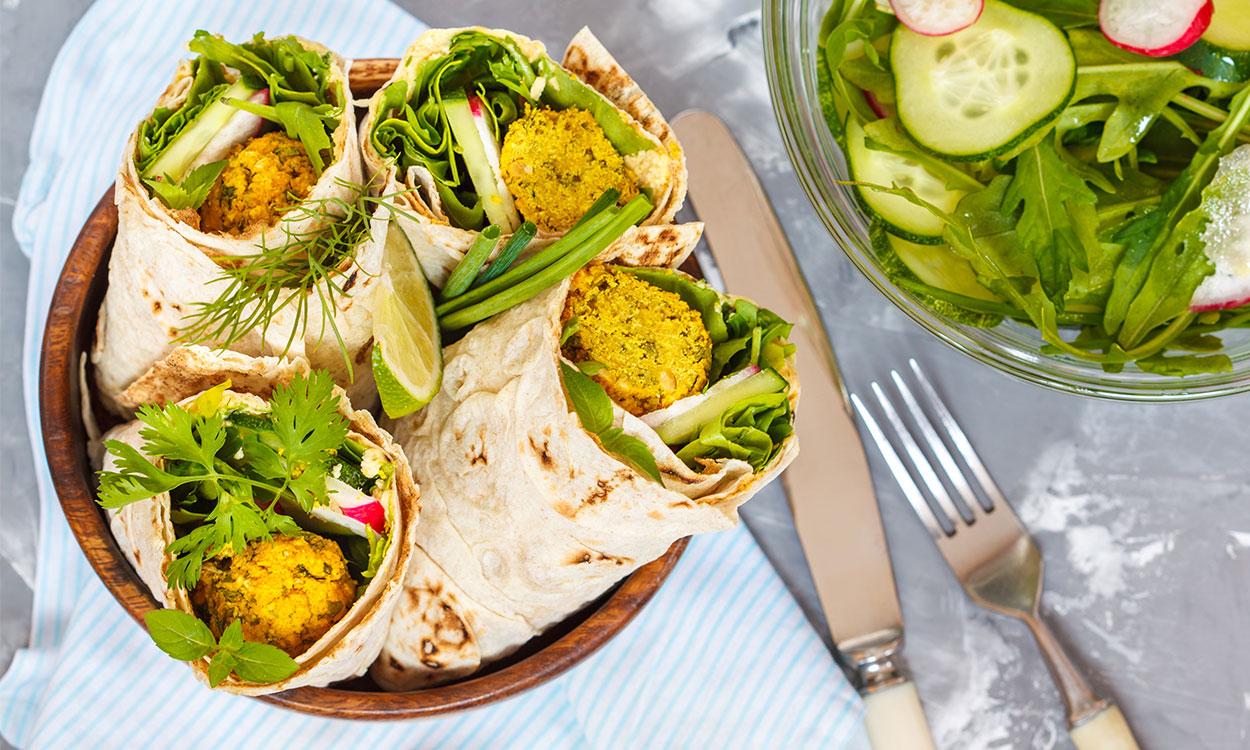 falafel-hummus wrap